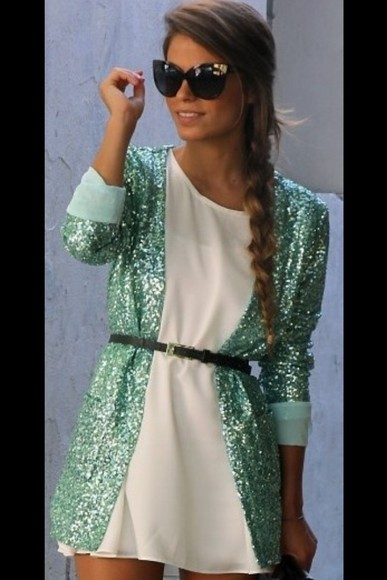 sequins cardigan glitter turquoise green Belt