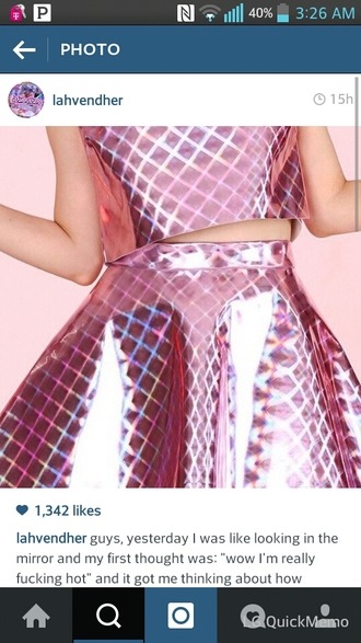 shirt glossy shiny skirt triangles cool metallic metallic skirt pink skirt