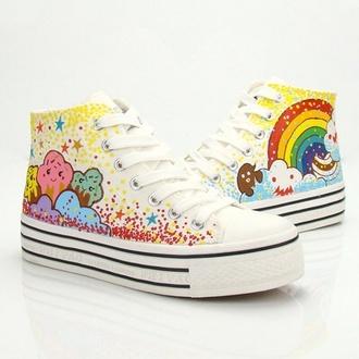 kawaii shoes kawaii rainbow creepers cute converse cupcake