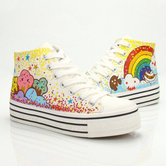 cute rainbow kawaii converse kawaii shoes creepers cupcake