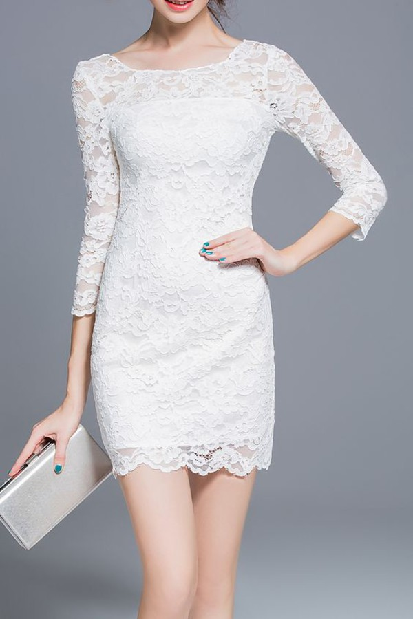 dress dezzal white white dress lace lace dress fashion style bodycon dress boho dress