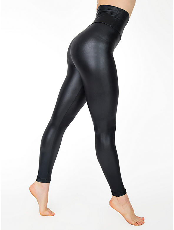 Black High waisted spandex leggings. Shiny and very stretchy with elasticated top. 80% Polyamide, 20% Elastane. They can be available in lost of different colours as shown on the colour chart. Please request custom order for those colours. Dispatch time for custom orders is working.
