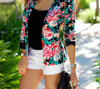 jacket floral blazer roses
