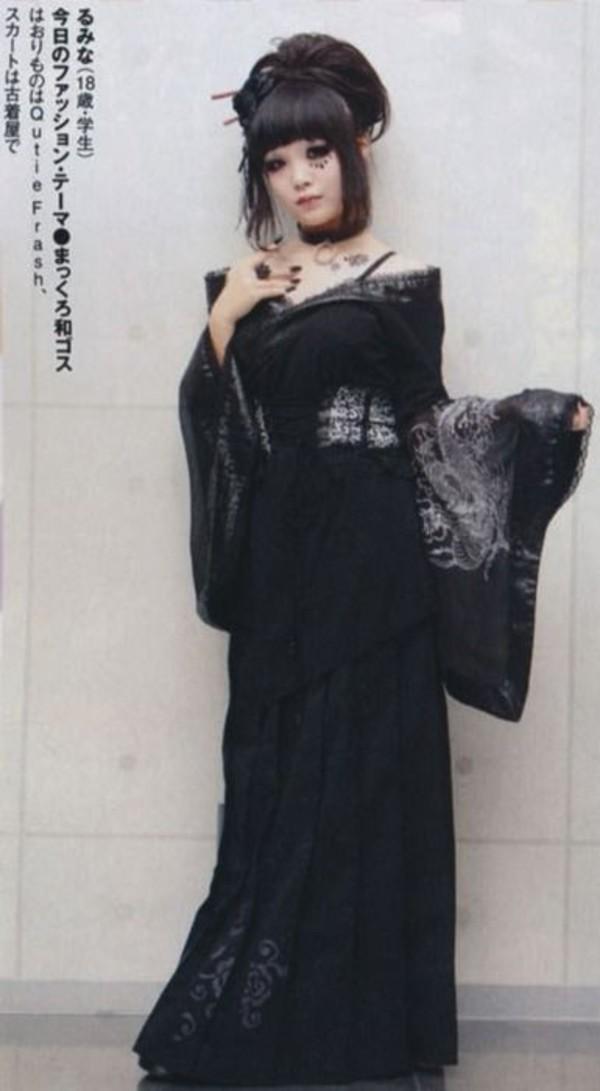 Dress Goth Goth Gothic Lolita Kimono Black Dress