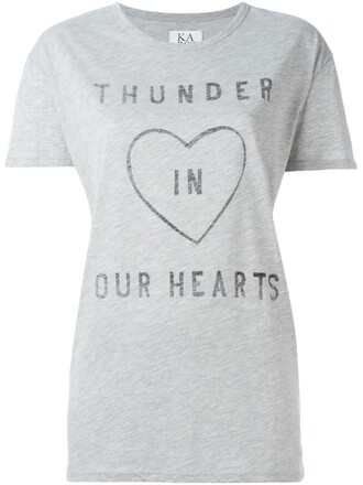 t-shirt shirt heart print grey top