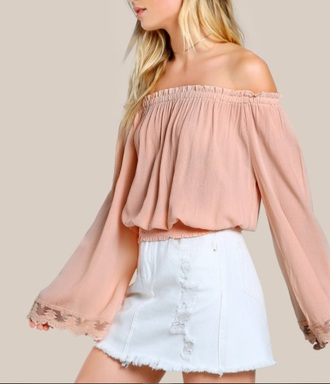 blouse girly pink light pink off the shoulder off the shoulder top long sleeves cute