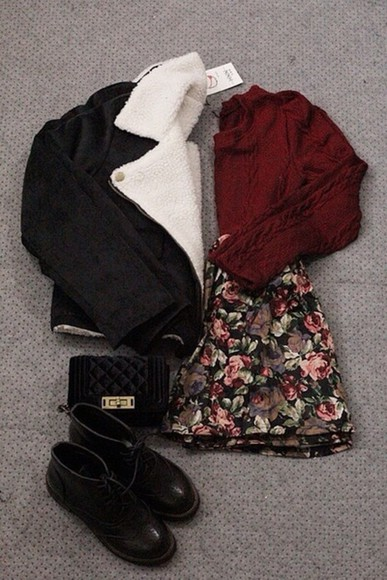 tumblr hipster black coat bag tumblr girl tumblr shirt girly outfits tumblr skirt sweater