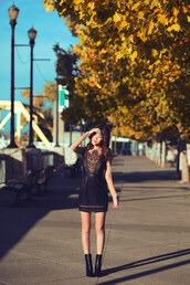 tsangtastic,blogger,leather,little black dress,lace dress,black boots,date outfit