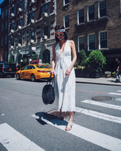 jumpsuit,white jumsuit,head bandana,shoes,bag,sunglassses