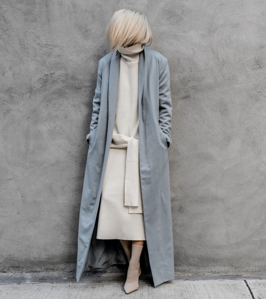 coat tumblr blue coat long coat dress midi dress white dress knit knitwear knitted dress boots nude boots sock boots