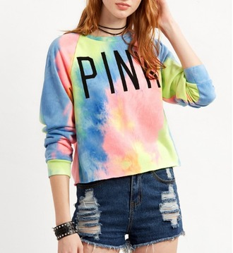 sweater girl girly girly wishlist pink colorful rainbow tie dye