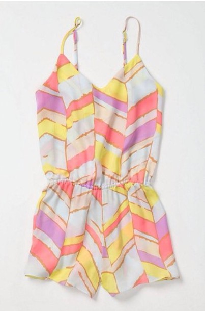 jumpsuit romper cute pink chevron stripes fashion girl girly dress dress