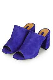 shoes,electric blue,mules,mid heel sandals,blue sandals