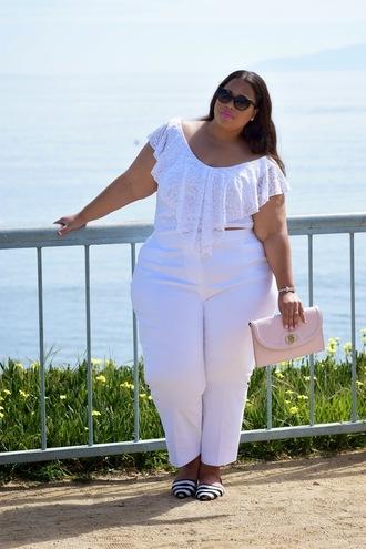 garner style blogger pink bag plus size pants white top curvy plus size top white pants