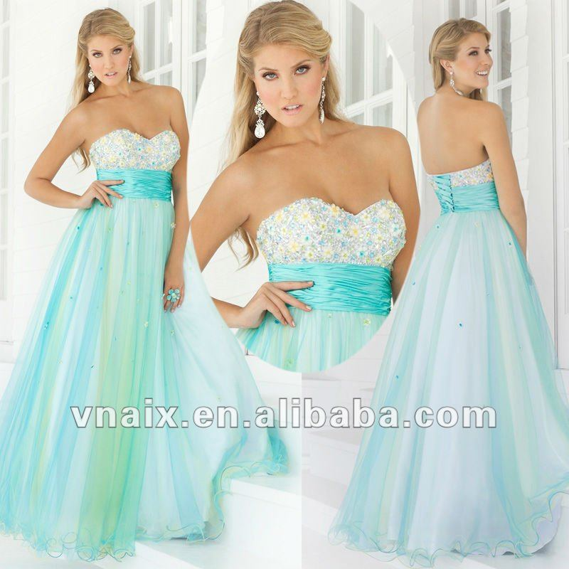 Vnaix P0056 2012 Beaded Sweetheart Light Blue Long Prom Dress-in Prom Dresses from Apparel & Accessories on Aliexpress.com