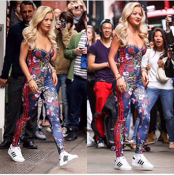 pants adidas one-piece floral rita ora blue red shoes