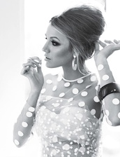blouse,modern,white,polka dots,blake lively,top,glamour,mesh top,sexy