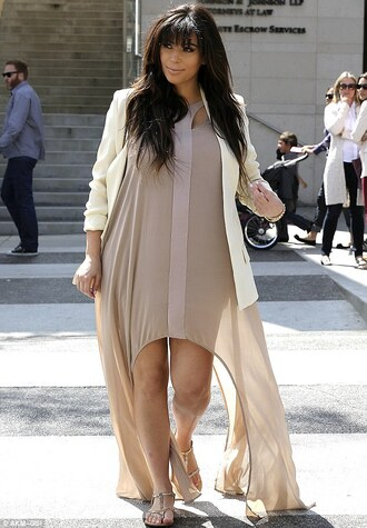 dress kim kardashian maxi dress nude nude maxi dress nude dress fashion style sexy dress