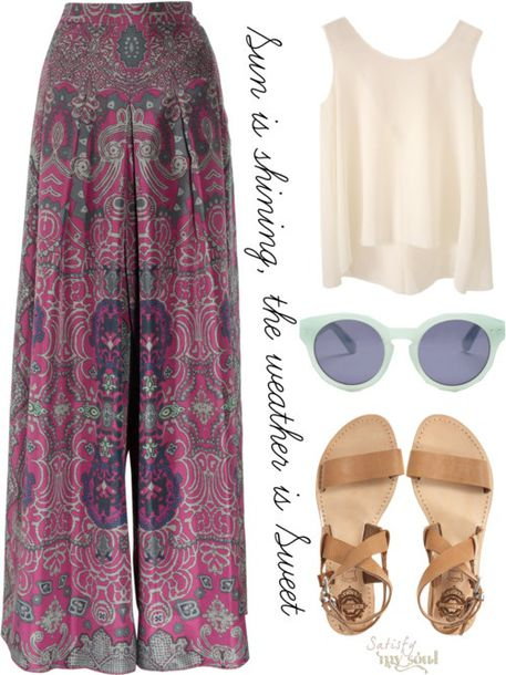 Pants: boho, bohemian, wide-leg pants, high waisted pants ...