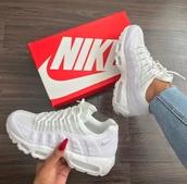 shoes,white nikes,nike,white,white sneakers,nike shoes,white nike tick 95s,sneakers,trendy,air max,white shoes