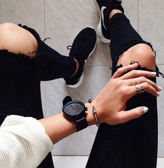 jewels black watch nike nike roshe run dope jeans shoes jewelry bracelets spikes edgy