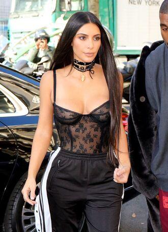 top kim kardashian black sheer sexy