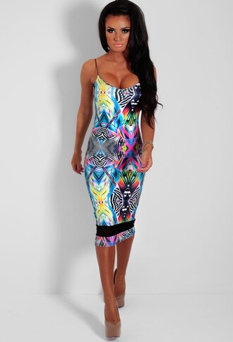 multicolor abstract print midi dress mesh panel dress