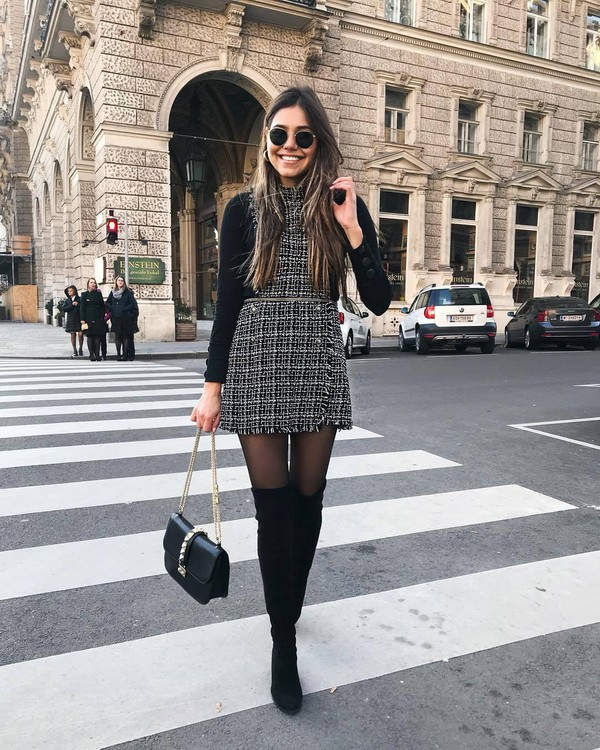 romper over the knee boots black bag tights long sleeves sunglasses streetwear