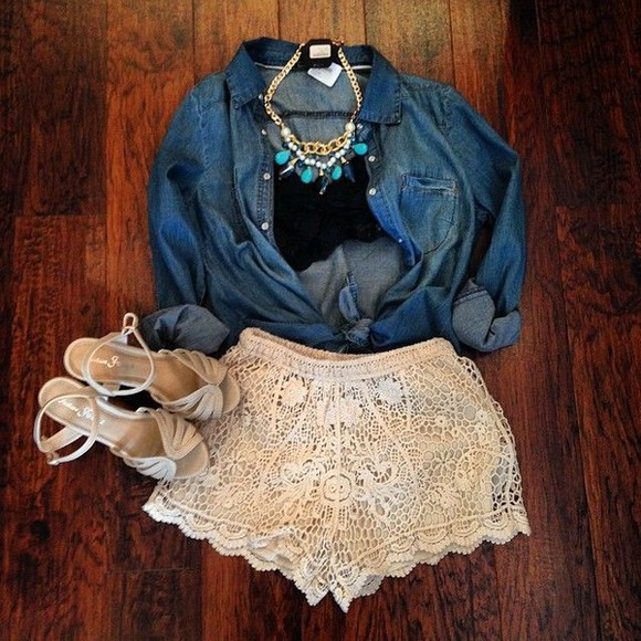denim shirt shorts black bralette lace lace top tank top eyelash lace bralette