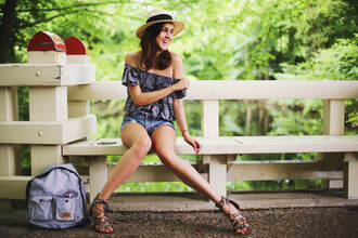 style scrapbook blogger top shorts shoes hat