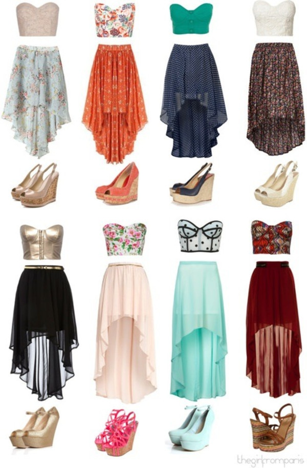 skirt high low clothes crop tops shoes tank top dress