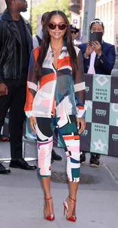 pants,blouse,karrueche,two-piece,colorful,spring outfits,top,shoes,sunglasses,celebrity