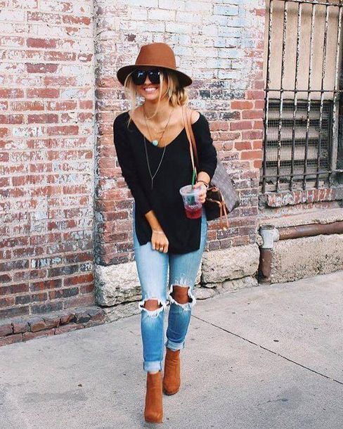 jeans brown hat black shirt distressed denim jeans brown boots blogger sunglasses