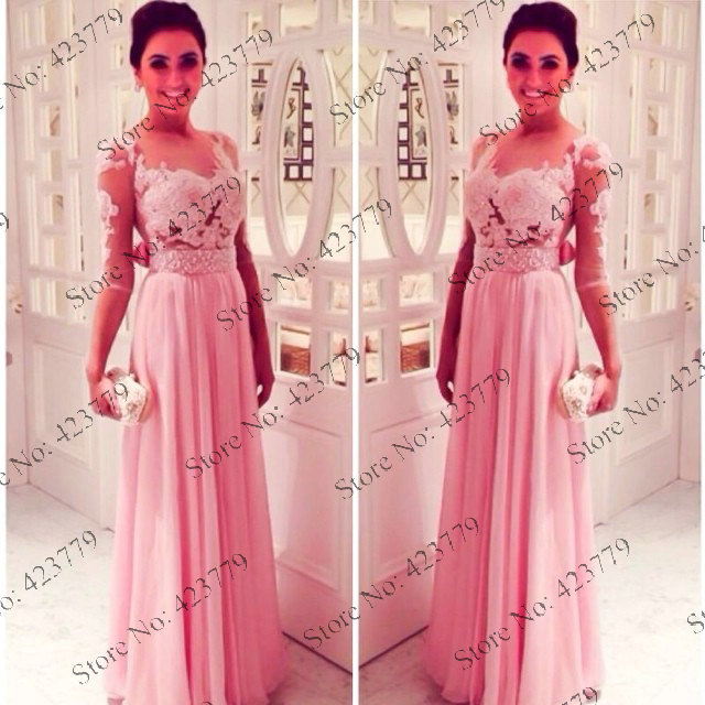 Aliexpress.com : Buy New Arrivals Pink Evening Dress A line Round Collar Appliqued Sheer Sleeves Bow Chiffon Long 2014 Prom Dresses from Reliable dress best for less suppliers on 27 Dress