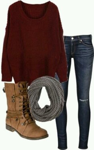 sweater red sweater grey infinity scarf dark blue jeans brown combat boots