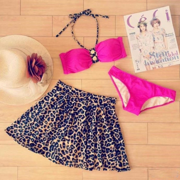 swimwear clothes swimdress animal print