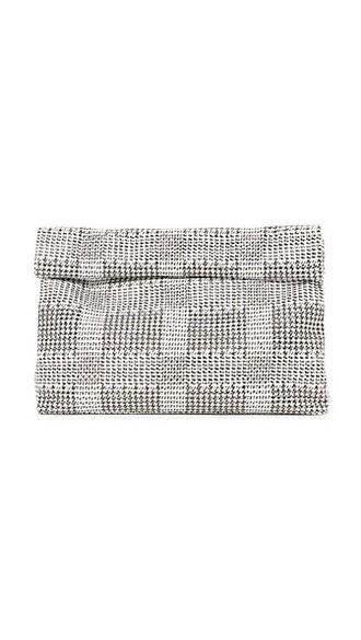 clutch houndstooth bag