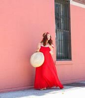 tf diaries,blogger,dress,bag,scarf,shoes,red dress,maxi dress,straw bag,round bag