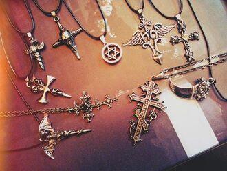 jewels goth gothic lolita cross satan stars necklace