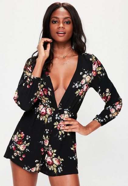 Missguided Black Plunge Neck Floral Long Sleeve Playsuit