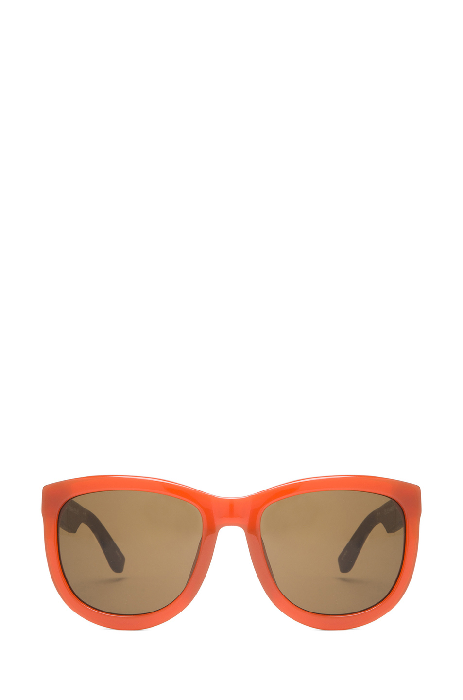 The Row | Rounded Wayfarer Sunglasses in Rust & Walnut