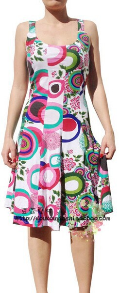 Europe and America brand Desigual 2014 cotton printed sleeveless vest dress cultivate one's morality | Amazing Shoes UK