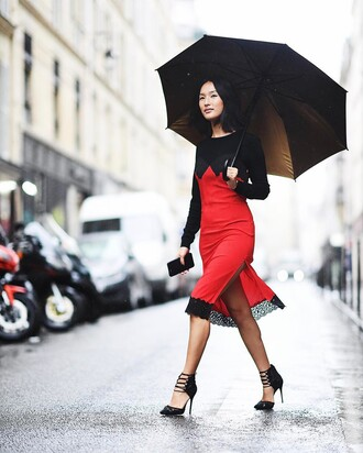 dress black heels tumblr red dress midi dress slip dress slit dress top black top high heels heels umbrella