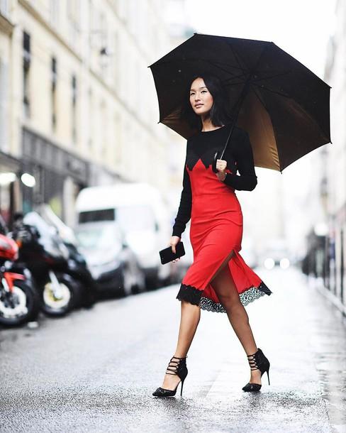 Dress Black Heels Tumblr Red Dress Midi Dress Slip Dress Slit
