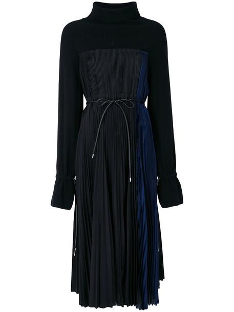Sacai dress midi dress women midi black wool