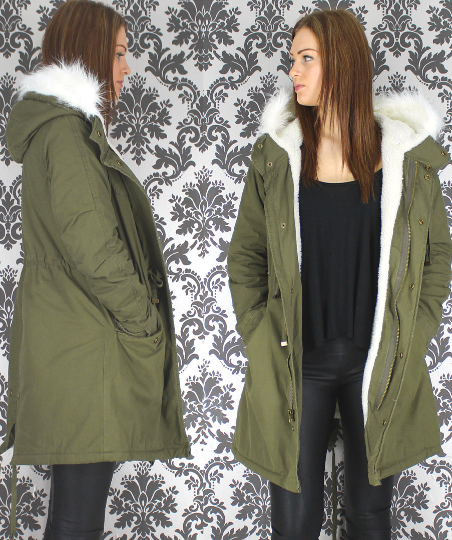 Fleece Lined Khaki Parka, Long Parka With White Fur Hood