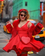 dress,red dress,jacket,red jacket,beret,red beret,bag,curvy,plus size dress,plus size,all red wishlist,heart