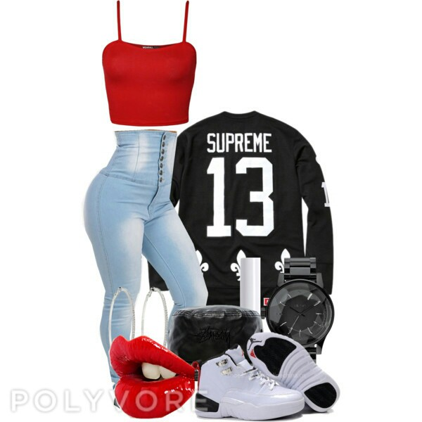 pants supreme tshirt crop tops high waisted jeans