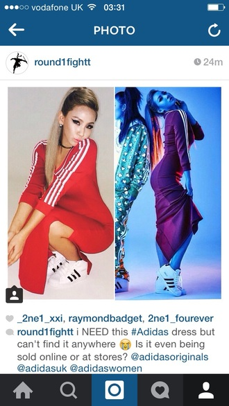 dress adidas adidas dress sporty sporty style long dress long sleeves red red dress stripes fitted fitted dress adidas jeremy scott