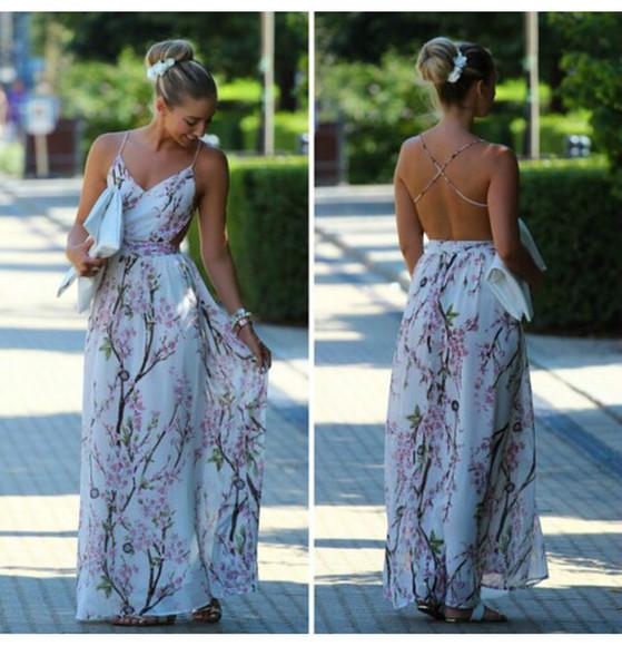 floral floral dress backless dress
